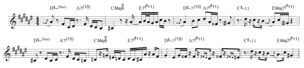 ラッキー・パンチのヘッドのメロディーとコードの関係