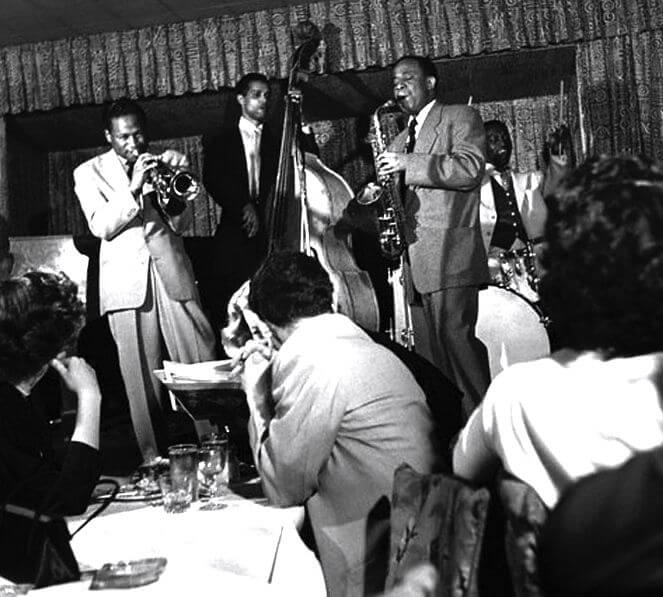 左からClifford Brown、Curly Russell、Lou Donaldson、Art Blakey (photo: Birdland)